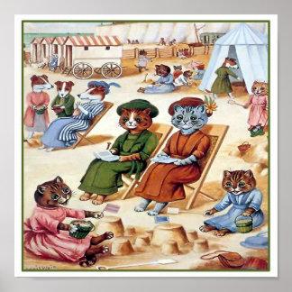 Gatos en la playa de Louis Wain Póster