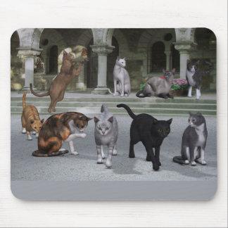 Gatos en los pasos del palacio alfombrilla de ratón