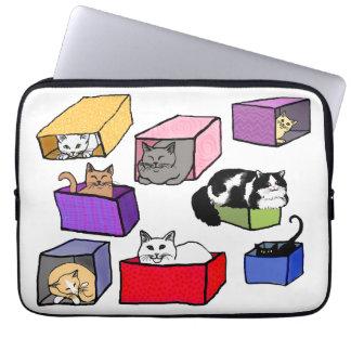 Gatos en manga colorida del ordenador portátil de  manga computadora