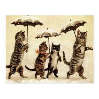 Gatos en nieve con los paraguas tarjetas postales