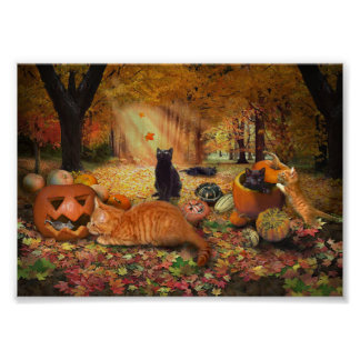 Gatos en otoño póster