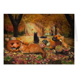 Gatos en otoño tarjetas