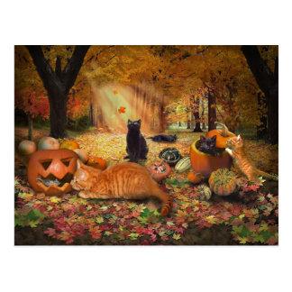 Gatos en otoño tarjeta postal