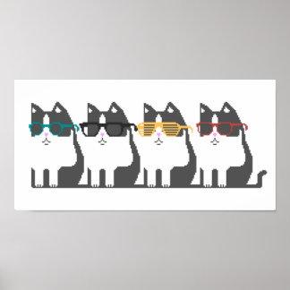 Gatos en poster del arte del pixel de la fila de l