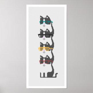 Gatos en poster del arte del pixel de la pila de l