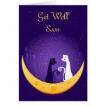 Gatos en tarjeta de felicitación de la luna