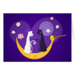 Gatos en tarjeta de felicitación de la luna de la