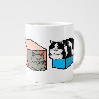 Gatos en taza colorida del jumbo de las cajas taza grande