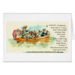 Gatos en un barco de fila felicitaciones