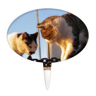 Gatos en un Boatyard Figura De Tarta
