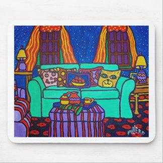 Gatos en un sofá por Piliero Alfombrilla De Raton