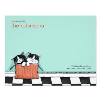 """Gatos en una tarjeta de nota plana de la caja de invitación 4.25"""" x 5.5"""""""