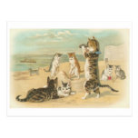 """""""Gatos en vintage de la playa"""" Postal"""