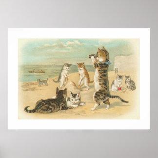 Gatos en vintage de la playa poster