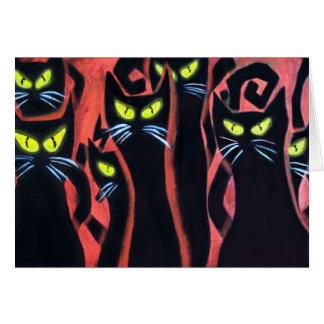 Gatos enojados negros tarjeta de felicitación