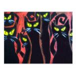 Gatos enojados negros tarjeta postal