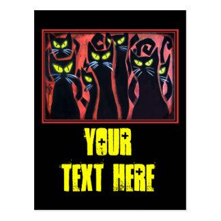 Gatos enojados negros tarjetas postales