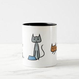 Gatos enojados taza dos tonos