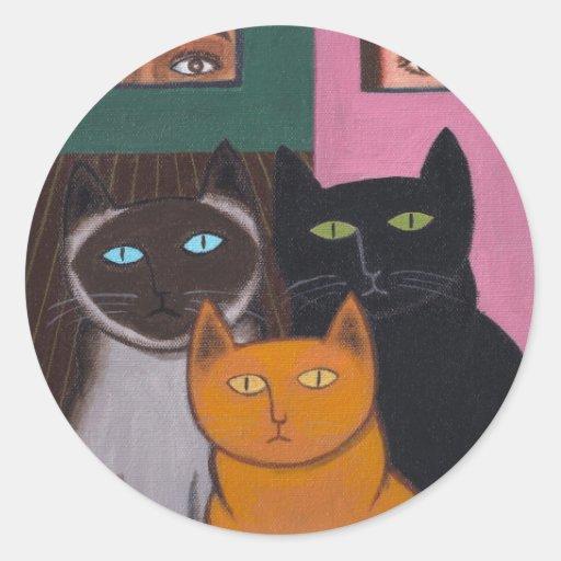 Gatos espectaculares 2 pegatina redonda