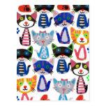 gatos felices coloridos tarjeta postal