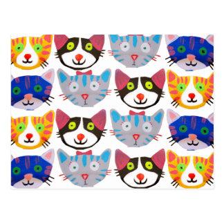 gatos felices coloridos postales