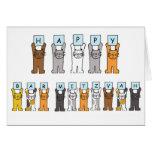 Gatos felices del dibujo animado de Mitzvah de la Felicitaciones