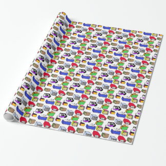 Gatos felices en papel de embalaje colorido de las papel de regalo