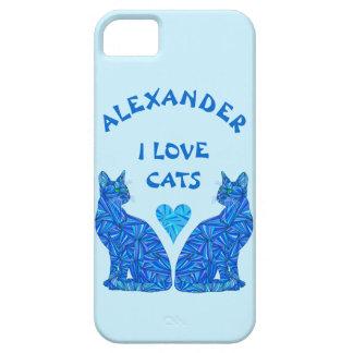 Gatos felinos azules del amor del amante I del iPhone 5 Fundas