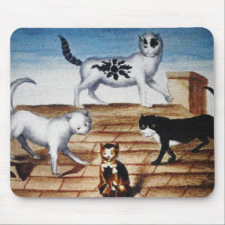 Gatos franceses del vintage en un tejado alfombrilla de ratones