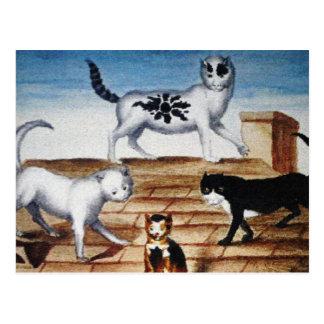 Gatos franceses del vintage en un tejado postales