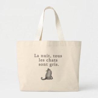 Gatos franceses que dicen productos bolsa tela grande