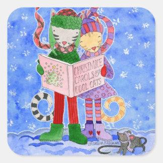 Gatos frescos de Caroling del navidad Pegatina Cuadrada