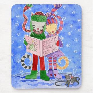 Gatos frescos de Caroling del navidad Alfombrilla De Ratón