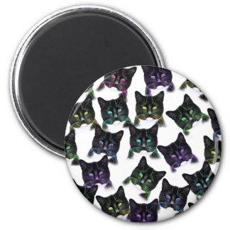 Gatos frescos imán redondo 5 cm