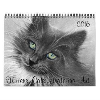 Gatos, gatitos, 2016 calendario KaterinaArt