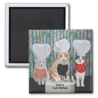Gatos/gatitos gastrónomos del cocinero imán cuadrado