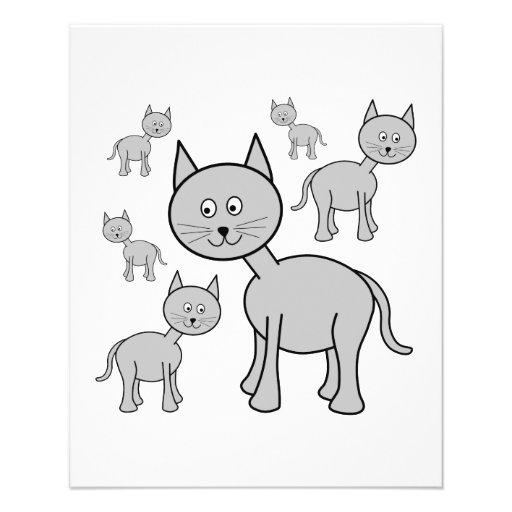 Gatos grises lindos. Historieta del gato Tarjetones