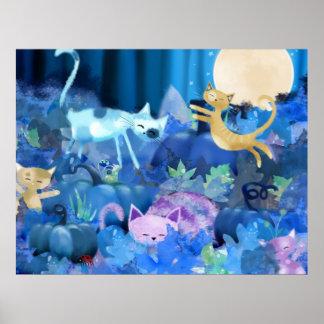 Gatos iluminados por la luna - impresión del poste