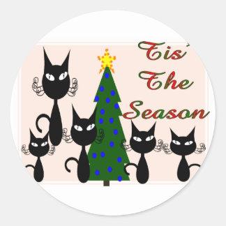 """gatos la """"estación de los tis """" pegatina redonda"""