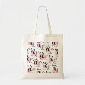 Gatos lindos de las pinceladas negras rosadas de bolsa tela barata