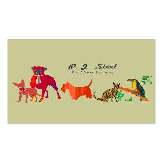 Gatos lindos de los perros de los animales plantilla de tarjeta de negocio