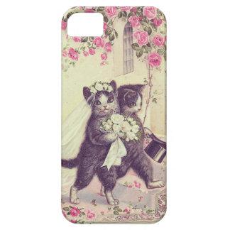 Gatos lindos del boda del vintage funda para iPhone SE/5/5s