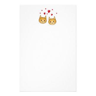Gatos lindos del jengibre. Con los corazones rojos Papeleria