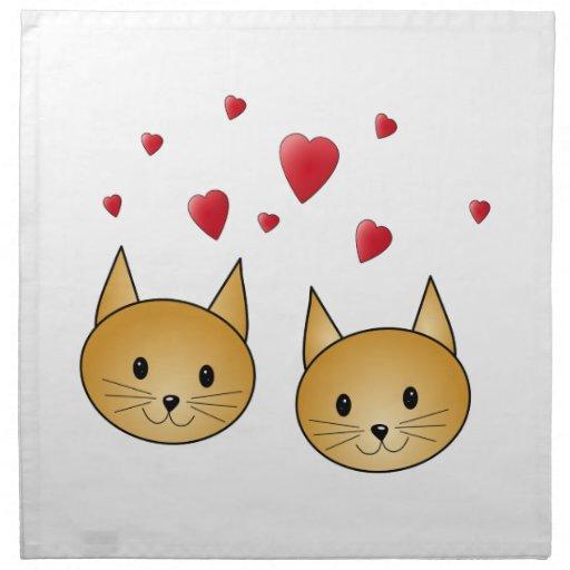 Gatos lindos del jengibre. Con los corazones rojos Servilleta Imprimida