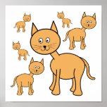 Gatos lindos del jengibre.  Historieta del gato Posters