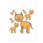 Gatos lindos del jengibre.  Historieta del gato Postal