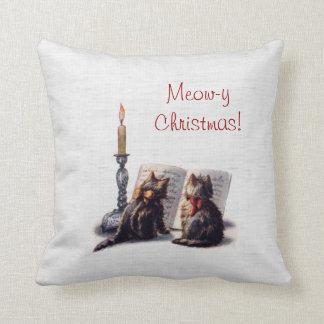 Gatos lindos del vintage del Meowy-Navidad Cojín