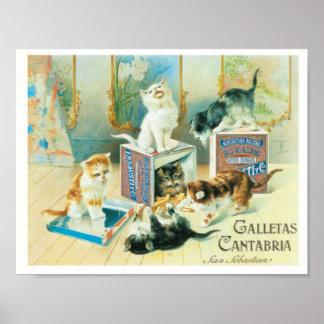 Gatos lindos que juegan el ejemplo del vintage póster
