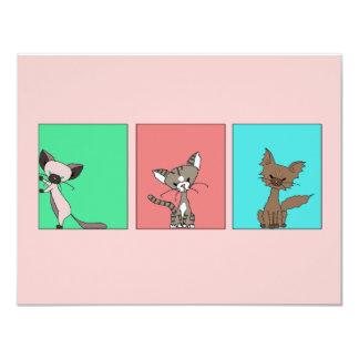 """Gatos lindos (resuelva maúlla) invitación 4.25"""" x 5.5"""""""