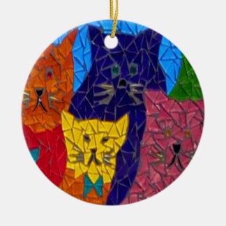 Gatos locos 2 diseños en 1 ornamento adorno navideño redondo de cerámica